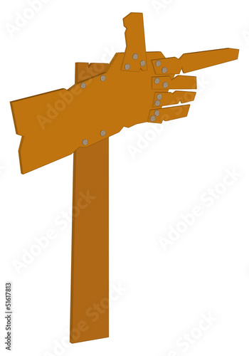 Road sign as hand from wooden boards