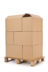 Stack of cardboard boxes on wooden palette