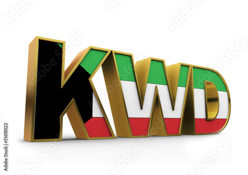 3D Kuwait currency sign with flag