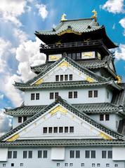 Osaka Castle (Osaka Fortress) in Osaka, Japan, closeup