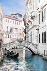 Venice canal with gondola, Italy © EMrpize
