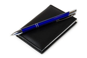 Notepad and blue ball point