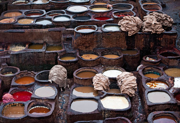 The Moroccan leather factories, ancient craft in Medina of Fes