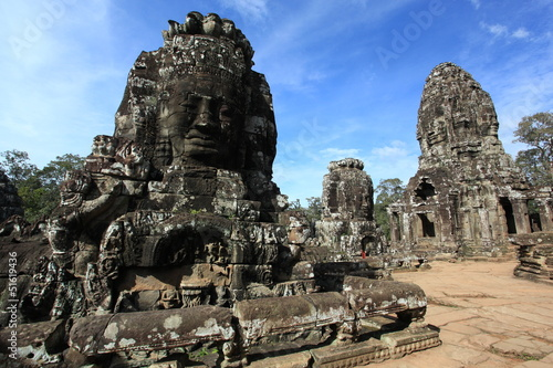 Giant face at Bayon castle in Cambodia