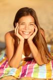 Summer woman sunbathing enjoying sun smiling poster