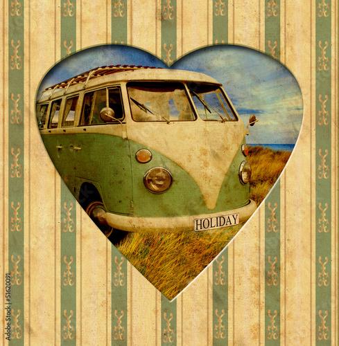 Foto op Canvas Vintage Poster Vintage Heart - Holiday