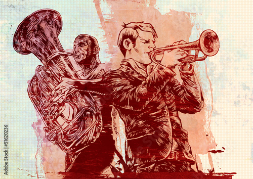 background with trumpeters in grunge style