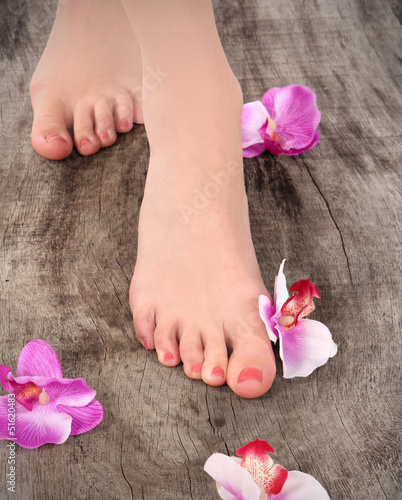 Beauty pedicured feet, treatment photo.