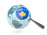 Magnified flag of kosovo with blue globe poster