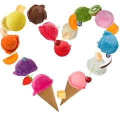 Ice cream heart over white background