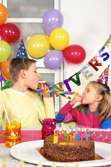 Two children at birthday party