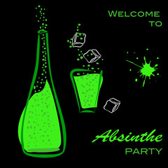 Welcome to absinthe party. Bottle and glass silhouette