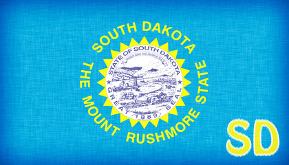 Linen flag of the US state of South Dakota