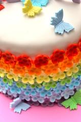 Tarta fondant de arco iris