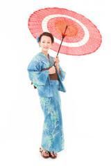 番傘と浴衣女性