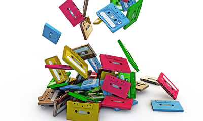 cassette tapes falling