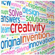 """CREATIVITY"" Tag Cloud (ideas teamwork brainstorming solutions)"