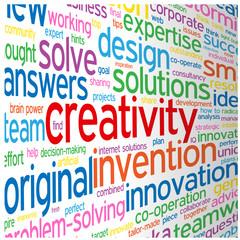 """CREATIVITY"" Tag Cloud (ideas teamwork brainstorming solutions)"