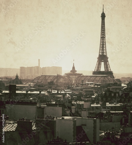 Vue vintage de Paris - France