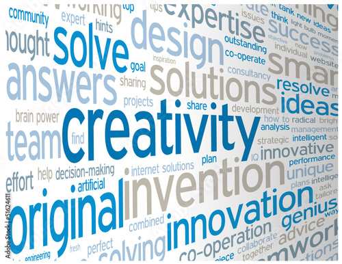 """CREATIVITY"" Tag Cloud (ideas teamwork brainstorming projects)"