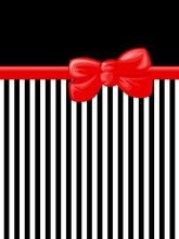 Ribbon and Bow and Stripes, Black, White and Red