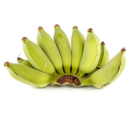 Raw banana on white background