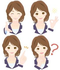 女性 様々な表情 オフィスシーン