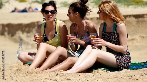 Girls having fun on beach