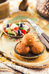 Falafel balls with salad