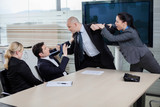 Businessman attacking his colleague at a meeting, grabbing him b