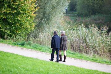 älteres paar wandert im grünen