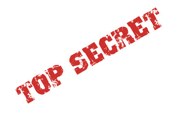 """ Top Secret "" text stamp print with red ink on white"