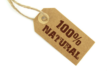 """"""" 100% Natural """" stamped text  on a natural paper label"""
