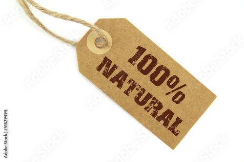 """ 100% Natural "" stamped text  on a natural paper label"