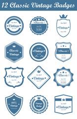 12 Classic Vintage Badges (Blue)