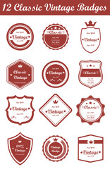 12 Classic Vintage Badges (Red)