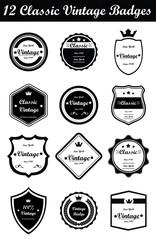 12 Classic Vintage Badges (Black)