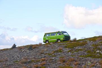 Minivan climbing a hill