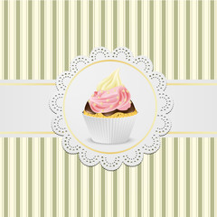 Cupcake with jelly and creme