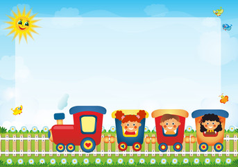 Children riding train with place for text