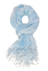 It is a light blue scarf with fringe.