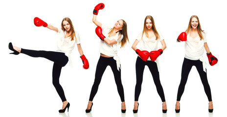 Young beautiful fashion woman boxing  isolated on white