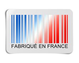 Fabriqué en France avec code barre bleu, blanc et rouge