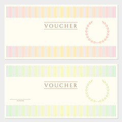 Gift Voucher / coupon template with stripy pattern
