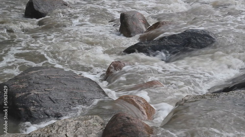 Rocks in river.