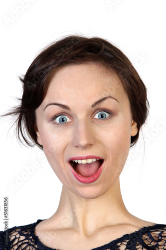 Woman face with surprised expression