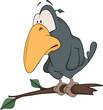 Raven from a fairy tale. Cartoon