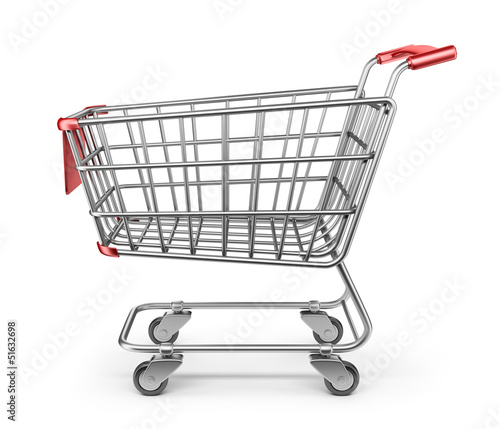 Market shopping cart 3D. Isolated on white background