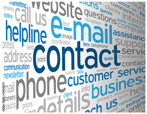 """CONTACT"" Tag Cloud (call us details customer service button)"