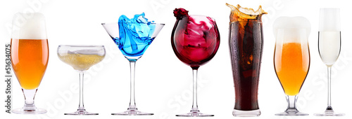 alcoholic drinks set with splash